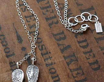 Sterling Silver Angel Wing Lariat Necklace Wild Prairie Silver Jewelry Handmade