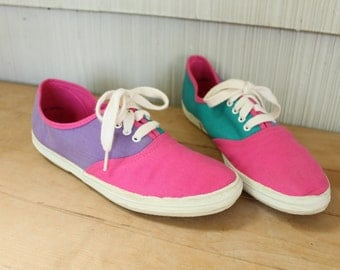 90's Pink + Turquoise + Purple Color Block Sneakers 8
