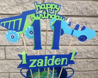Birthday Party Baby Shower Table Decoration Centerpiece Car and Truck Blues and Greens