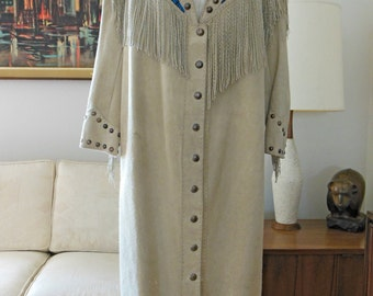 Sale Leather Beaded Coat with Hand Pointed Fringe and 141 Sterling Silver Buttons-OOAK Long Leather Fringe Coat Beaded Embellished Coat