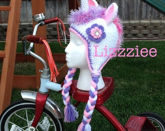 Unicorn Crochet Hat Pattern PDF - instructions for beanie or earflap in 6 sizes from newborn to adult - Instant Digital Download