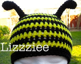 Bumble Bee crochet beanie hat - baby toddler child sizes - 6 months 12mo 18mo 2t 3t 4t 5