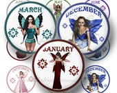 Birthstone Fairy, Bottle Cap Images, 1 inch Circle, Digital Collage Sheet, Instant Digital Download, Birthday, Cupcake Toppers, Pendants