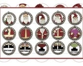 Editable SANTA Christmas Ornaments Bottle Cap Images Digital Collage Sheet (Old Saint Nick 1) 1 Inch Circles
