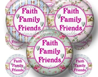 Faith Family Friends, Instant Download, Bottle Cap Images, Digital Collage Sheet, 1 Inch Circles, Shabby Cottage Chic (SR1) Sayings