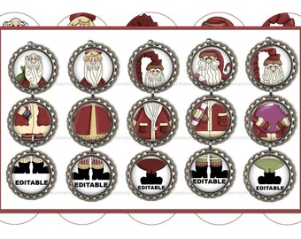 Editable, SANTA, Christmas Ornaments, Bottle Cap Images, Digital Collage Sheet  (Old Saint Nick 1) 1 Inch Circles, Father Christmas, Crafts