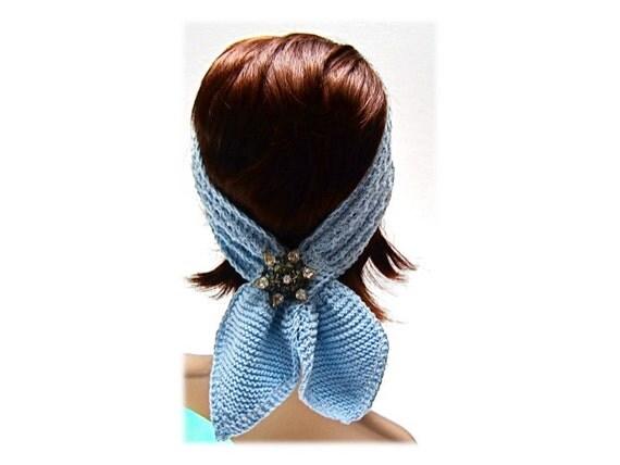 scarf headband head wrap powder blue retro boho hand knit soft cotton bamboo yarn 3-option accessory