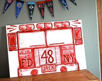"""FDNY . 2'x3' . really BIG red fire truck art . 2) 24""""x18"""" canvas set vertical. hand painted original modern art. fire engine. new york city"""