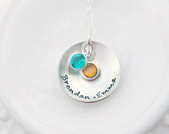 Personalized Birthstone Necklace - Hand Stamped Necklace - Mom Necklace - Name Necklace - Hand Stamped Jewelry - Mothers Day