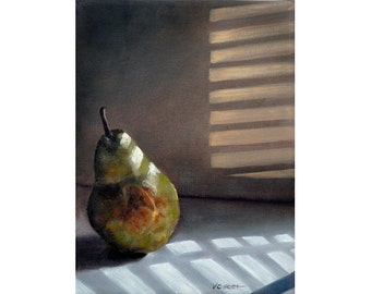 8x10 FINE ART PRINT of  'Pear in Morning Light' Pear Painting Still Life by Vickie Sue Cheek