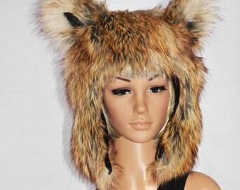 Natural Brown Fox Hat Faux Fur Animal Hat