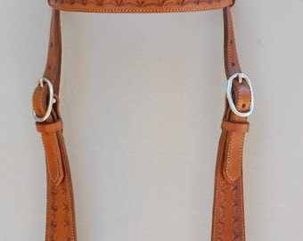 Hand Stamped Brown Headstall