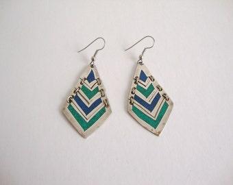 Vintage Alpaca Earrings: Blues and Greens vintage silver alpaca green and blue earrings