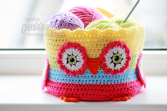 Crochet Pattern - Owl Basket (Pattern No. 057) - INSTANT DIGITAL ...