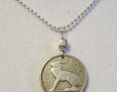 Irish Jewelry - Coin Jewelry - IRELAND RABBIT coin necklace - Irish hare - harp - CELTIC - eire - Year of the Rabbit - bunny necklace