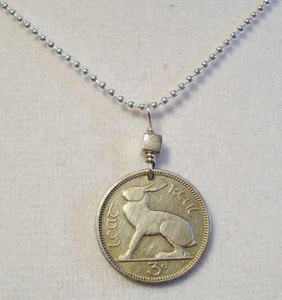 Irish Jewelry - Coin Jewelry - IRELAND RABBIT coin necklace - Irish hare - harp - CELTIC - eire - Year of the Rabbit - bunny necklace
