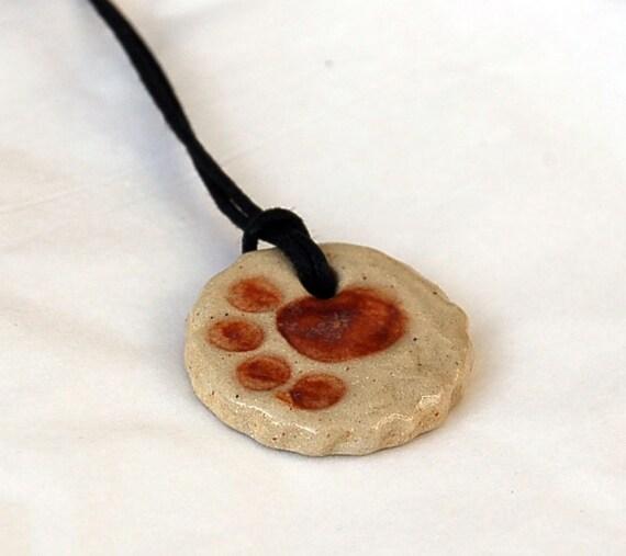 Stoneware  Pendant Necklace- Paw Print Pet Pendant Necklace   -  Hung on cotton