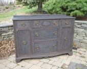 SOLD ** Chic and Shabby Aged Black Buffet / Console / Server / Dresser