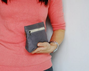 SALE 30% - Piggy Pouch in Grey - Zipper Pocket / Purse / Wallet / clutch / cosmetic bag / iphone case / For Her / Women / Pouch