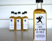 "No.1 - Wedding Gold Oil Bomboniere / Favors ""Love as Pure as Gold"" - 23 Carat Gold Leaf Infused Olive Oil"