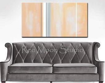 Abstract Painting, Peach and Grey Abstract Art - Large 48x24, Peach and Gray Original Art