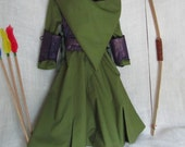 On Sale - Girl's Tauriel The Warrior Elf Costume: Dress With Hood, Belt, Arm Guards, & Armor Vest, Child's Size 3/4, Ready To Ship Now