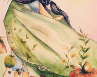 mother and daughter  with green blanket and flowers  art print