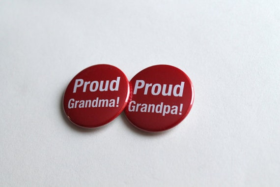 Proud Grandma & Grandpa Set! | Buttons, Keychains Magnets