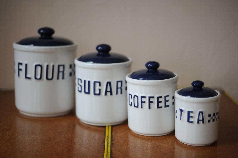 vintage white blue ceramic container set of 4 flour sugar. Black Bedroom Furniture Sets. Home Design Ideas