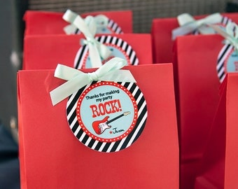 Rock Star Birthday Party Favor Tags - Red, Mint, Black & White - CUSTOMIZED PRINTABLE