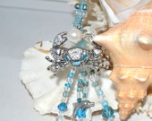 Blue Crab OOAK Hand-Beaded Bookmark with Free Journal
