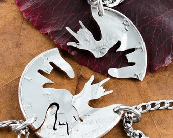 3 Best Friend Necklaces, ASL I love you hands, Family Jewelry, hand cut into a Half Dollar