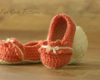 Crochet Pattern for the Ruffle Ballet Flats Baby Shoes  Pattern number 108 - Instant Download L