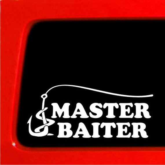 Master baiter truck funny stickers car decal bumper funny for Fishing stickers for trucks