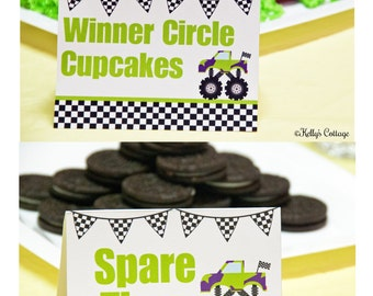 Monster Truck Birthday Party Labels, Instant Download, Printable, Food Tags, Place Cards, Party Signs