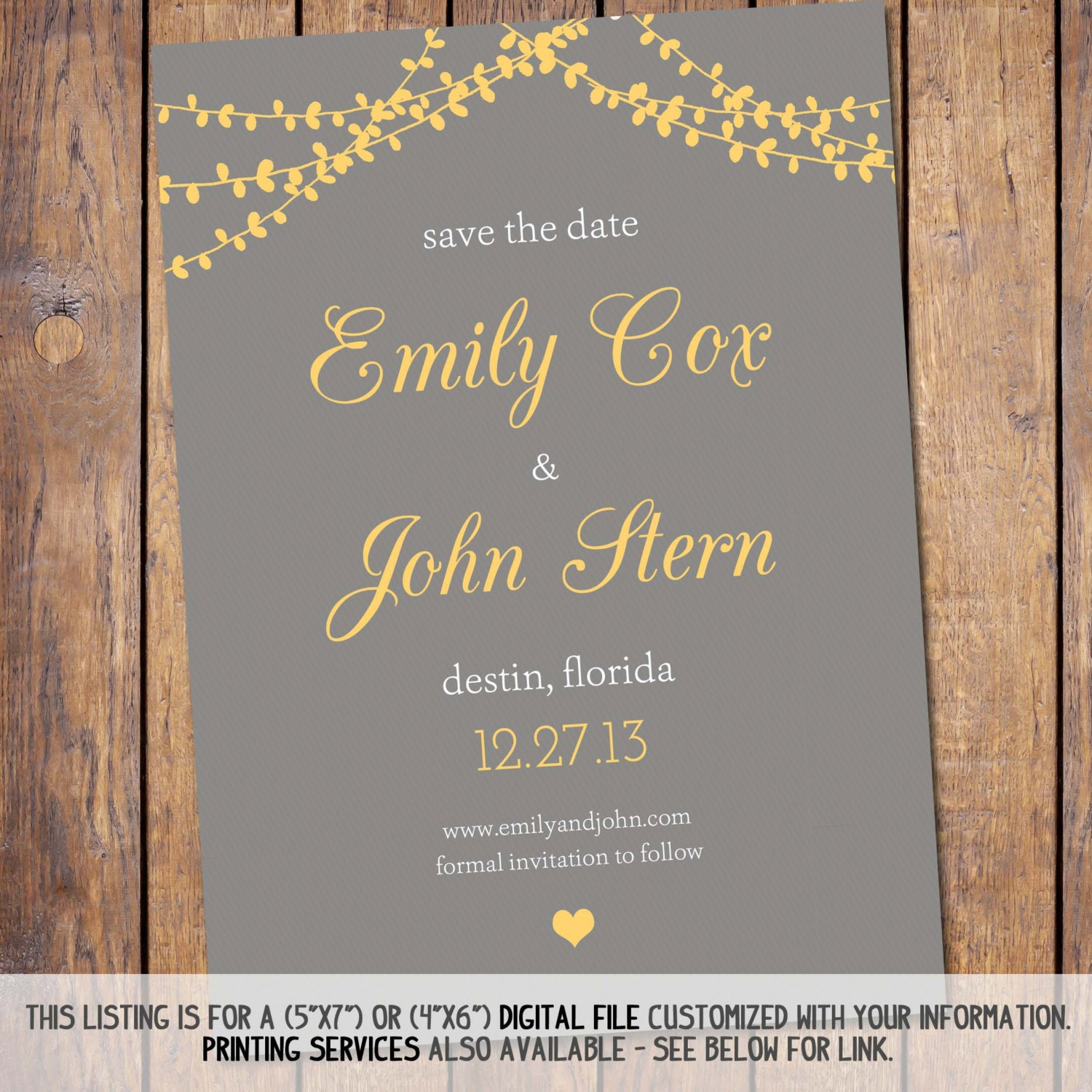 Mason Jar Save The Date Template Modern save the date: grey and