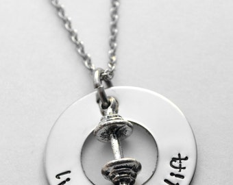 Live, Love, Lift - Bench, Squat, Deadlift - Weightlifting necklace - Exercise necklace - hand stamped stainless steel