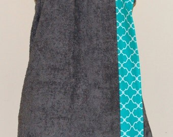 Monogrammed Terry Cloth Bath Wrap with a Teal Lattice Trim