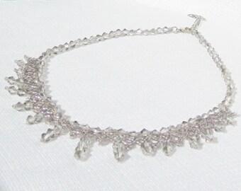 Crystal wedding necklace, Bridal necklace