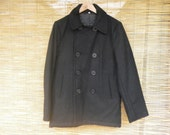 Vintage Man's Black Wool Double Breasted Peacoat Size S