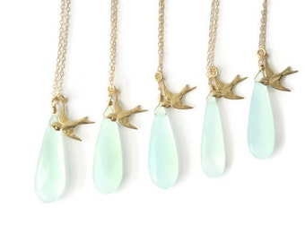 Mint Bridesmaids Gifts | Set of 5 Gold Bird Necklace | Aqua Green Onyx Necklaces | Teardrop Pendant | Gold Filled | Sparrow Flying West