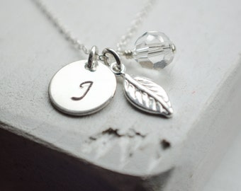 Dainty Initial Necklace | Personalization Necklace | All Sterling Silver | Tiny Leaf Charm | Birthstone