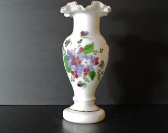 Vintage Consolidated Glass Violet Decorated Regent Line Vase