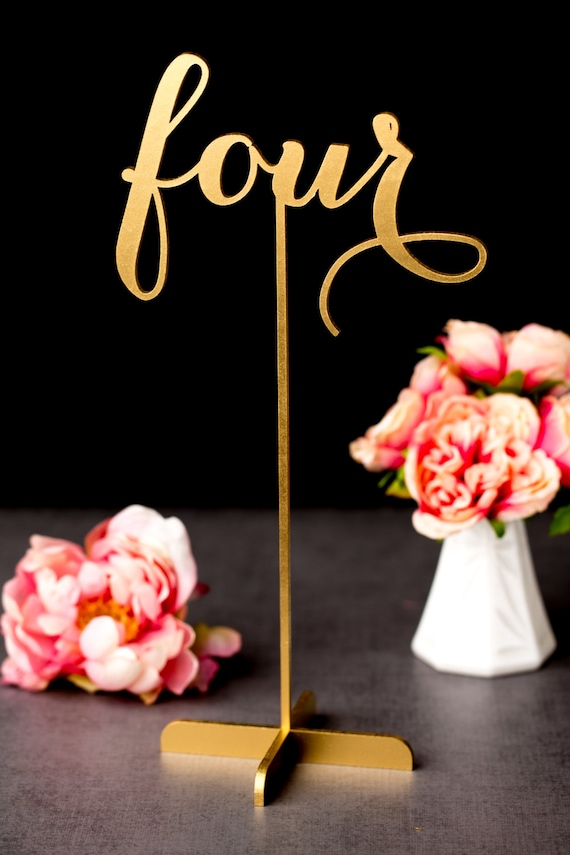 Gold wedding table numbers freestanding with base by for Table numbers