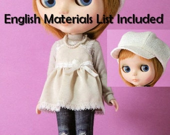 Blythe Distressed Denim Pants, Sweater,Tunic, Hat Sewing Pattern PDF English templates names, English material list and sewing info included