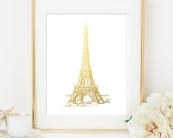 Eiffel Tower Paris Wall Art Decor, Gold Paris Art, Gold Eiffel Tower, Faux Gold, Paris Wall Art, Home Office Decor Art, Paris Wall Art Decor