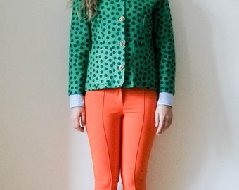 "Vintage 80s ""Solid Spots"" green linen polka dot blazer / jacket / tailored/ gold buttons size S M"