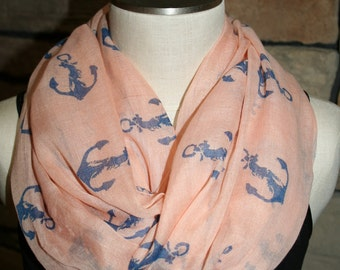 Nautical Anchor Infinity Scarf Peach with Blue Anchors Polyester Circle Loop Scarf Infinity Scarf Chunky Cowl Ship Anchor