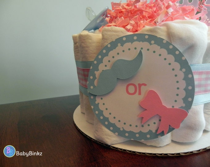 Gender Reveal Diaper Cake - One Tier  Baby Shower Gender Reveal gift or centerpiece mustache bow girl boy bow tie