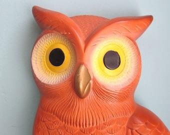 Owl Art, Owl Chalk Plaque, Owl Decor, Wall Hanging, Burnt Orange Owl, Owl Plaque, 1970s Home Decor, Retro Owl, Rusty Orange, Decorative Owl